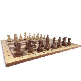 Ekskluzywny zestaw 2: figury szachowe American + szachownica intarsjowana jasna mahoń + kasetka czerwone drewno (S-201)