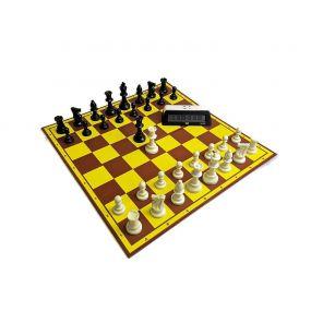 """Zestaw """"Startowy Młodego Szachisty"""" nr 1 : szachownica tekturowa + figury plastikowe Staunton nr 6 + zegar elektroniczny DGT 100"""