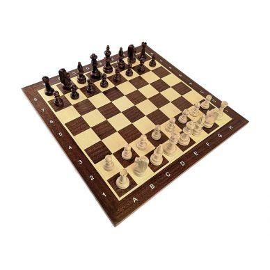 Profesjonalny Zestaw Turniejowy nr 2: szachownica drewniana, intarsjowana nr 5 + figury drewniane Staunton nr 5/II + zegar elekt