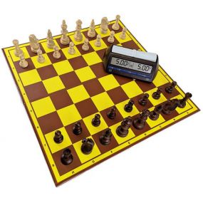 Profesjonalny Zestaw Turniejowy nr1: szachownica tekturowa + figury drewniane Staunton nr 5/II + zegar elektroniczny DGT 2010
