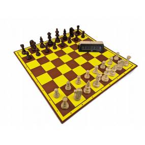 """Zestaw """"Startowy Młodego Szachisty"""" nr 2:  szachownica tekturowa + figury drewniane Staunton nr 5/II+ zegar elektroniczny DGT 10"""