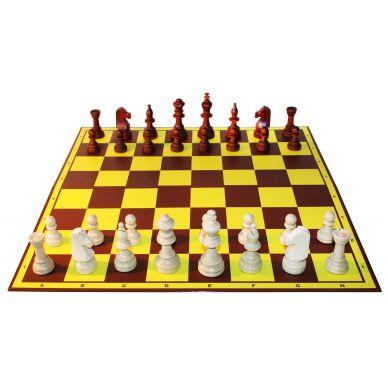 6x Zestaw Klubowy I: Figury drewniane Staunton nr 5 w worku + szachownica tekturowa ( Z-1/6 )