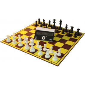6 x Zestaw Klubowy Profi I: Zegar DGT Easy, szachownica tekturowa, figury plastikowe STAUNTON nr 6 (Z-30)