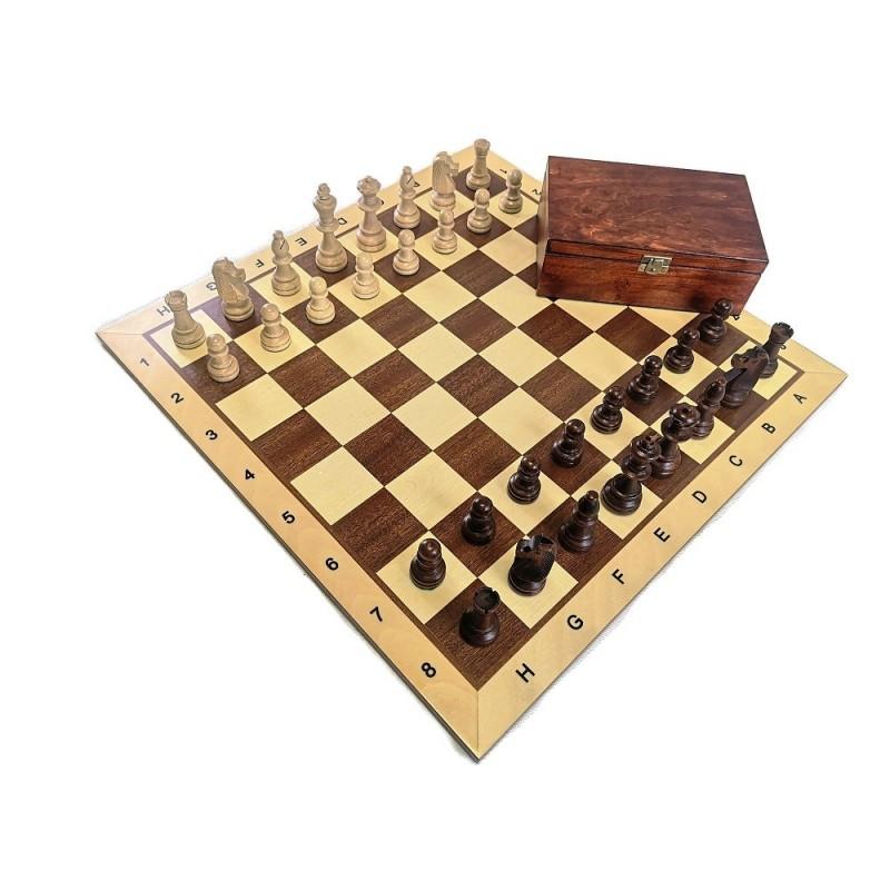 """Zestaw: Figury """"Staunton nr 6"""" w kasetce drewnianej + deska drewniana (Z-4)"""