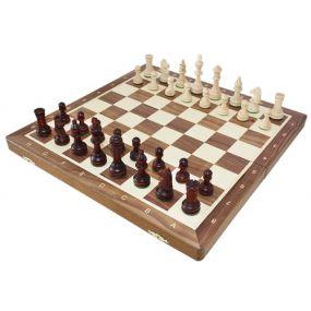 Szachy turniejowe składane nr 4 orzechowe intarsja (S-11/orzech)