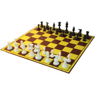 10 x ZESTAW SZKOLNY III: figury plastikowe Staunton nr 6 + szachownica tekturowa składana na pół (Z-16)