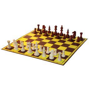 10x Zestaw Szkolny VI: Figury szachowe Staunton nr 5/II w worku + Szachownica tekturowa składana na pół ( Z-1/10 )