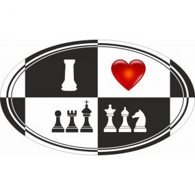 Naklejka I Love Chess 2 (A-93/bw)